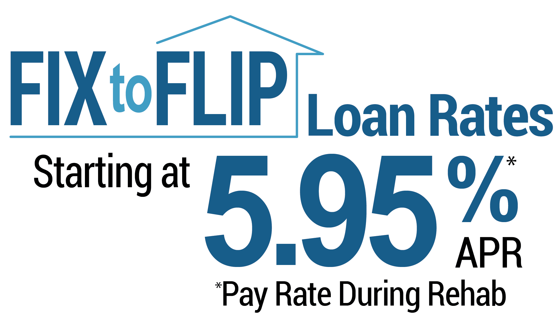 Fix to flip loan rates starting at 5.95% APR* *pay rate during rehab