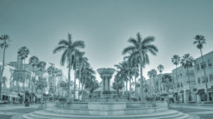 Black and White Fountain in the center of town in West Palm Beach