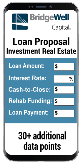 Loan Proposal investment formula for 30+ additional data points on a phone