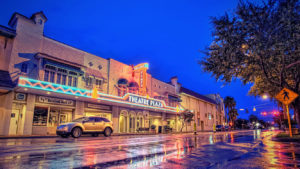 Vero Beach Theatre Plaza lit up at night