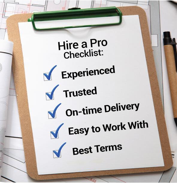 Hire a pro checklist on clipboard