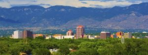 Albuquerque city skyline with mountains in the back