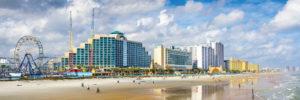 Daytona Beach Skyline and amusement park by the ocean