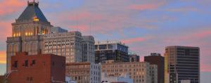 Greensboro city skyline at dusk