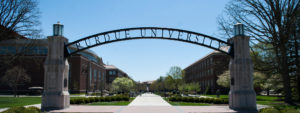 Purdue University arches over campus in Lafayette, Indiana
