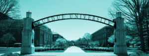 Purdue University arches over campus in Lafayette, Indiana in black and white