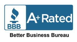 Better Business Bureau A+ Rated Blue Logo