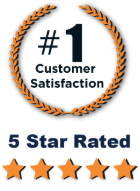Number One customer satisfaction wreath and five star rating